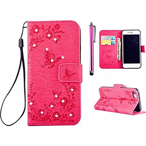 MUTOUREN iPhone 6 Plus iPhone 6S Plus Wallet Case with Bling Diamond Flower Butterfly Garden Pattern Premium PU Leather Cover Bookstyle Soft TPU Magnetic Snap Anti-scratch Shockproof Bumper Shell Red