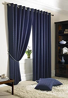 Jacquard Check Navy Blue Lined Ring Top Eyelet Curtains 90x90""