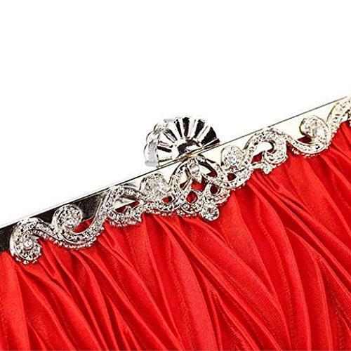 Cristallo Borsa da Sera in Raso Signora Borsa di Cerimonia Nuziale Pochette da Sposa Rosso