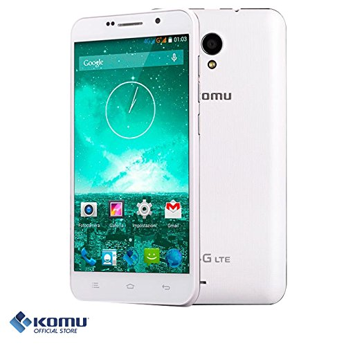 Komu K4 4G LTE Bianco smartphone quad core cellulare dual sim google android Display 5' HD tecnologia IPS 8GB ROM Marchio ITALIANO