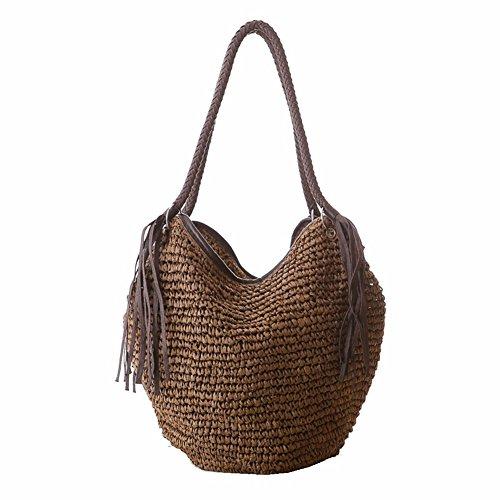 Sac tissé à la main d'herbe de gland de sac de paille d'herbe Sac à bandoulière à la main d'habillement élégant de grande capacité
