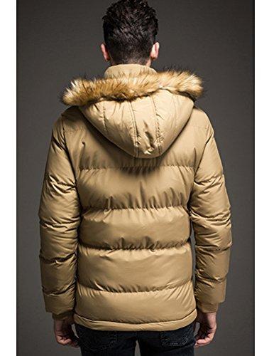 MatchLife Herren Fellkapuze Steppjacke Reißverschluss Mantel Style3-Khaki