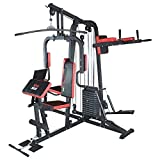 TrainHard HomeGym Multistation Fitnesscenter mit 65KG Gewichten inkl. Beinpresse, Dipstation, Beinhebe & Stepper