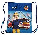 Turnbeutel mit Namen | Motiv Feuerwehr-Mann SAM | personalisiert & Bedruckt | Schuhbeutel Sportbeutel für Kinder Jungen & Mädchen | inkl. NAMENSDRUCK | blau gelb rot Navy