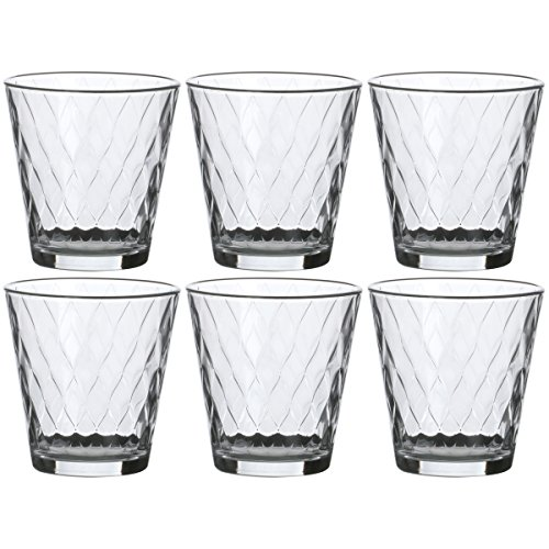 Promobo - Set Lot 6 Verres A Eau Imprimé Losange Ingrid City Luxe 25cl