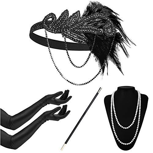 Timelike 1920s Flapper Damen Accessoires Set inklusive Halskette Handschuhe Zigarettenhalter Stirnband 20er Jahre 1920s Charleston Gatsby Retro Kostüm (#7)