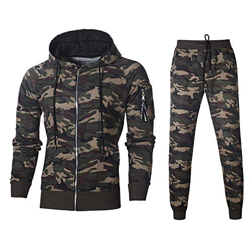 Celucke Herren Trainingsanzug Set Camouflage Slim Fit,Männer Jogginganzug Sportanzug Jogging Hosen Army Kapuzenjacke Hoodie