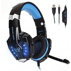 [Cable PS4] Tsing Auriculares Cascos Gaming de Diadema Cerrados con Micrófono USB Estéreo para PS4 Portátiles (Negro+Azul)