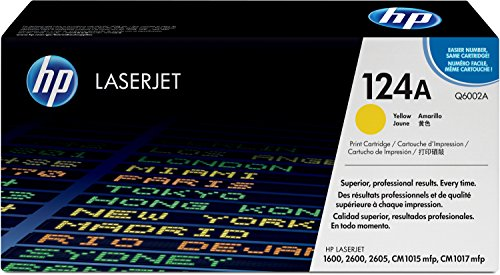 HP 124A (Q6002A) Gelb Original Toner für HP Color Laserjet 2600, 2605, 1600, CM1016, CM1017 (Color Laserjet 2600n-toner Hp)