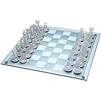 Juego de ajedrez de cristal Ajedrez de Vidrio Mediano 25cm X 25cm Establecido 32 Piezas de Vidrio, para 2 Jugadores. Edad 8 +. Piezas de Vidrio Esmerilado y Transparente y Tablero de Vidrio.
