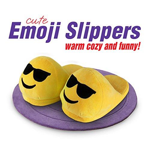 Pantofole Emoji - Faccia Cool - Faccine sorridenti - Calde e confortevoli - Morbide e divertenti - Pantofole con il fondo anti scivolo