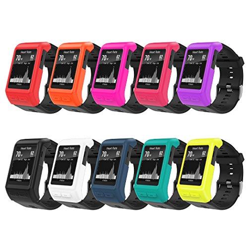�r Garmin Vivoactive HR, [10 Stk.] weiche Silikon Ganzkörper Schutzhülle stoßfest Uhr Case Protector Zubehör für Garmin Vivoactive HR Smartwatch, Multi Farben ()