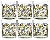juego de 6 Vasos Transparentes de cristal con Figuras de colores, vaso...
