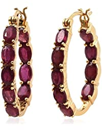 TJC Women 14ct Gold Plated Sterling Silver Ruby Hoop Earrings
