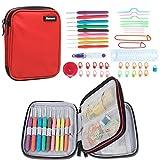Damero ergonomico uncinetto Set - con Organizzatore Caso e completa / Accessori / Kit Crochet, Rosso