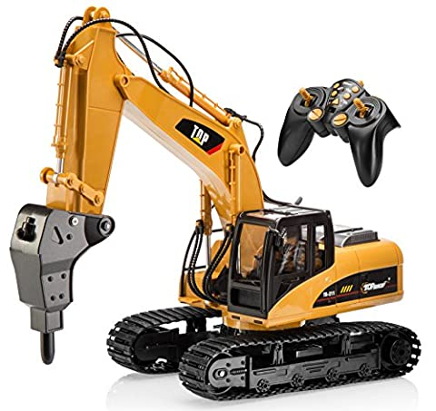 Top Race 16 Channel Professional RC Drill Excavator, Remote Control Construction Tractor ~Metal Drill~ (TR-218)
