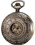 KS Vintage Taschenuhr Herren Handaufzug mechanische Skelett Uhr mit Kette Bronze KSP043