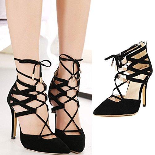 Azbro Summer Faux Suede Cross Slim Strap Kitten Heel Pump Shoes Black