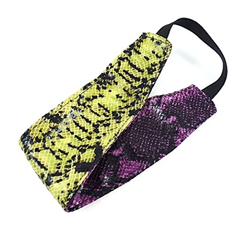 rougecaramel - Accessoires cheveux - Headband/bandeau/serre tête large imprimé serpent réversible - violet/jaune