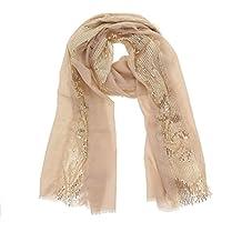 FASHIONGEN - Echarpe femme douce imitation coton à sequins ELYNN aa8106b0cb4