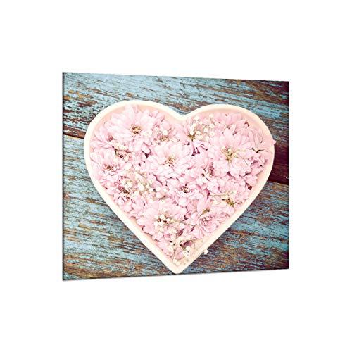 decorwelt | Küchenrückwand Spritzschutz aus Glas 65x60 cm Wandschutz Herd Spüle Küchenspritzschutz Fliesenschutz Fliesenspiegel Küche Dekoglas Herz Pink