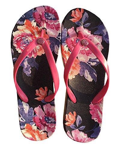 Été Cool Femmes Hawaiian Beach Sandals Flip Flops rouge et noir