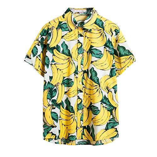 Auifor❤Mode Männer beiläufige Button Druck Hawaii-Strand-Short Sleeve Top Bluse Drucken -