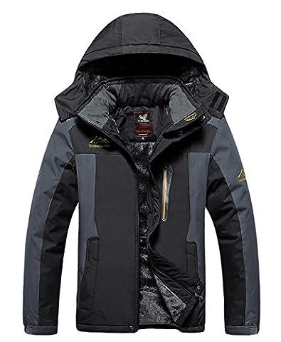HOUWEN Men's Outdoor Waterproof Mountain Jacket Fleece Windproof Ski Jacket Black/2XL