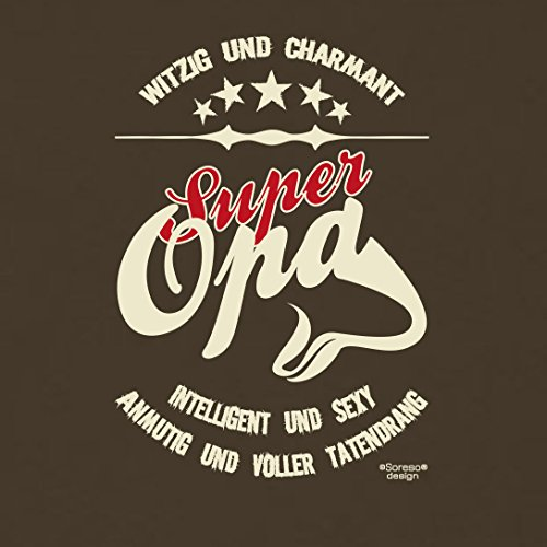 bequemes T-Shirt Herren Männer Motiv Super Opa Geschenk-Idee, Vatertag, Weihnachten kurzarm Outfit, Kostüm Farbe: braun Braun