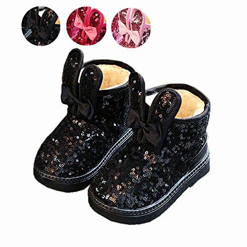 Nautica Jack (Zapatos De Bebé, Chickwin Lentejuelas Botines Para Niñas Bebé Otoño e Invierno Mantente Caliente e Suave y Cómodo Charming Botines Infantil (Negro, 33 / Medida Interior (cm) 19))