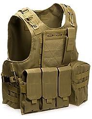 chalecos tácticos, Anfibio chaleco táctico militar Molle chaleco Combate Asalto Placa camuflaje chaleco del portador (Khaki)