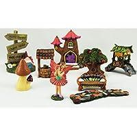 Juego de 9 unidades de adornos y artesanías, árbol, duende, casa de madera, jardín secreto de hadas mágicas