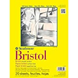 #7: Strathmore 300 Series Bristol Smooth 9''x12'' Extra White Smooth 270 GSM Paper, Short-Side Tape Bound Pad of 20 Sheets