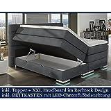 XXL ROMA Boxspringbett mit Bettkasten Designer Boxspring Bett LED DESIGN GRAU STOFF Rechteck Design (Design Grau Stoff, 200x200cm)