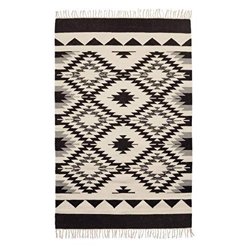 miaVILLA Teppich Levona Wolle Baumwolle Schwarz Beige 120 x 180