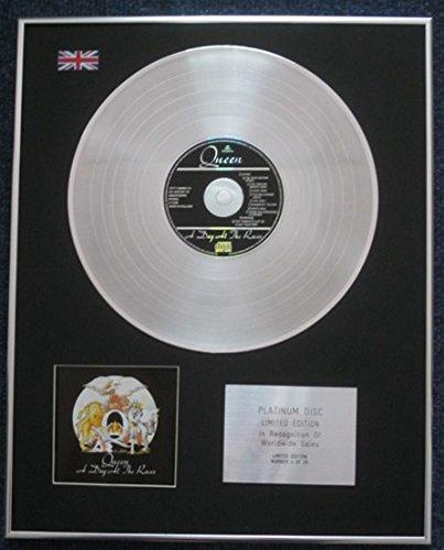 Century Presentations QUEEN – Disco de platino de edición limitada para CD – un día en las carreras