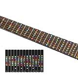 Bunte Gitarren-Noten vorbereitet für Anfänger, Gitarre mit Noten-Aufklebern für Griffbrett, einfach zu lernen klassische Gitarre, E-Gitarre mit Gitarre Noten Plektrum als Geschenk-Compuclever