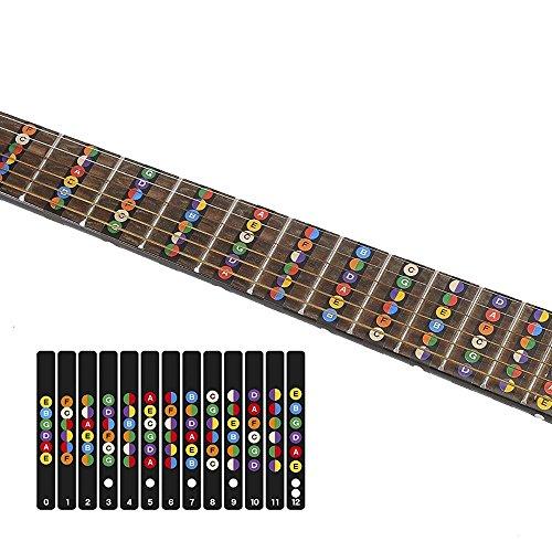Bunte Gitarren-Noten vorbereitet für Anfänger, Gitarre mit Noten-Aufklebern für Griffbrett, einfach zu lernen klassische Gitarre, E-Gitarre mit Gitarre Noten Plektrum als Geschenk-Compuclever (Lernen, Gitarre Zu Spielen Für Kinder)