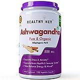 #5: Healthyhey Nutrition Pure Organic Ashwagandha Root Powder 120 Vegetable Capsules - 500 Mg