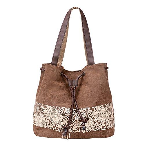 PB-SOAR Damen Vintage Canvas Shopper Schultertasche Beuteltasche Handtasche mit Kordelzug 30x29x12cm (B x H x T) (Braun)