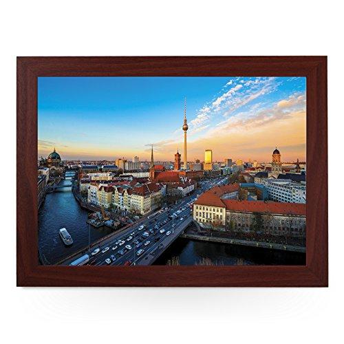 Tragbares Knietablett (Berlin Skyline Deutschland) Handgefertigter Holzrahmen, gepolsterter...