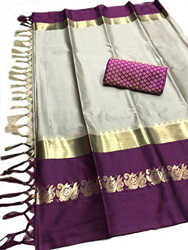 Tagline Women's Cotton Silk Saree with Extra Broket Blouse (9 COLOR) (Grey...