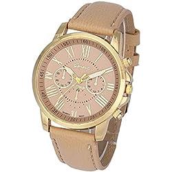 Zolimx Women Watch Wrist Watch Round Case women's Watches Beige