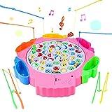 Jeu de Peche Musique Musicale La Pêche Jeux avec 42 Poisson et 5 Panier a Peche pour Enfants 3+