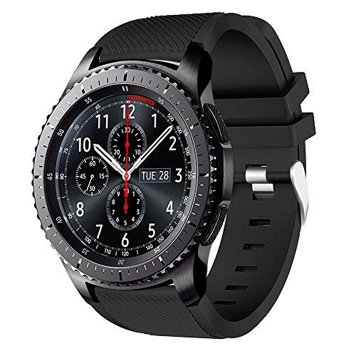 AMERTEER Samsung Gear S3 Frontier/Classic/Moto 360 2nd Gen 46mm Watch Armband - Silikon Sportarmband Uhr Band Strap Erstatzband Uhrenarmband für Samsung Gear, schwarz