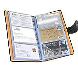 Organizer, portacarte in pelle poliuretanica con cerniera, 150 scomparti per 300 carte, colore arancione 150 Cell Black