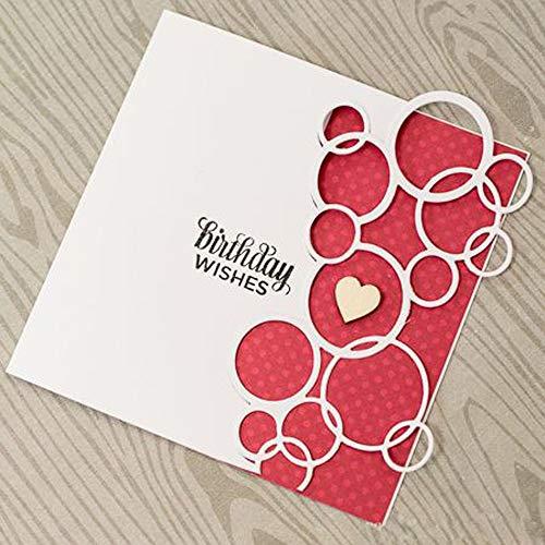 WOZOW Scrapbooking Stanzschablone Süß Prägeschablonen Schablonen Stanzen Stanzformen für Hochzeits Einladung Grußkarte Verpackung Dekoration (F Ringe Blase)