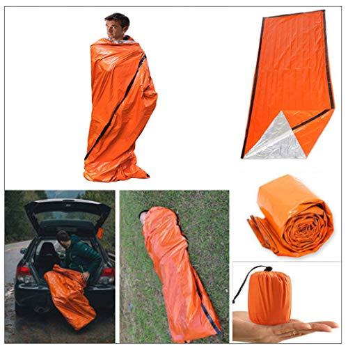 VNEIRW Notfallzelt, Notschlafsack, Biwaksack Survival Schlafsack, Wasserdicht für Outdoor Survival Camping Wandern, Ultraleicht Hitzeabweisend Kälteschutz (Orange) -