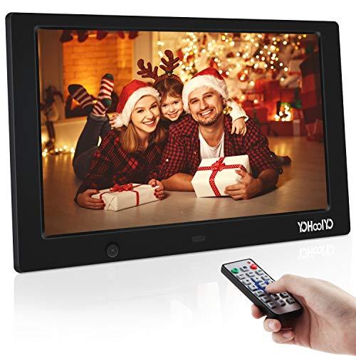 YOHOOLYO Digitaler Bilderrahmen 10.1 Zoll Elektronischer Fotorahmen 1280x800 Hohe Auflösung IPS Bildschirm 16:10 mit Fernbedienung (Verpackung MEHRWEG)