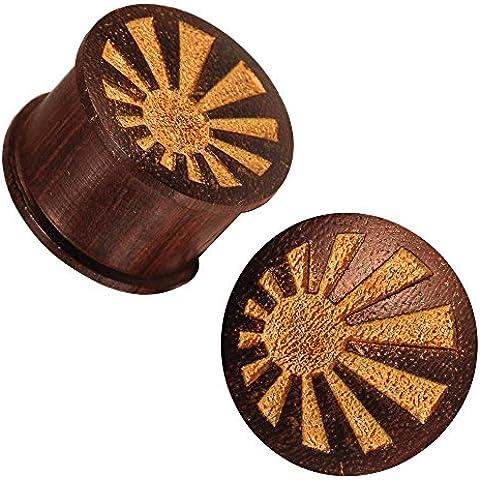 Chic in legno scuro tunnel radiazione oro texture incisione laser verniciato marrone Expander tribale netto 14 mm